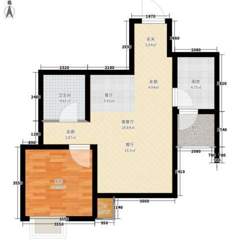 仁泰里1室1厅1卫1厨62.00㎡户型图