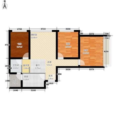 龙天名俊3室0厅1卫1厨86.00㎡户型图