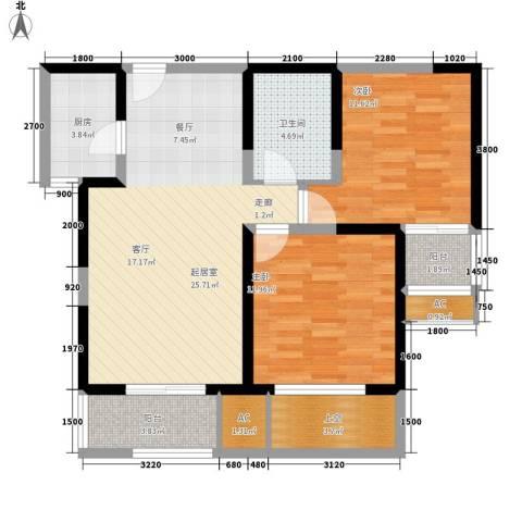 唐韵三坊2室0厅1卫1厨85.00㎡户型图
