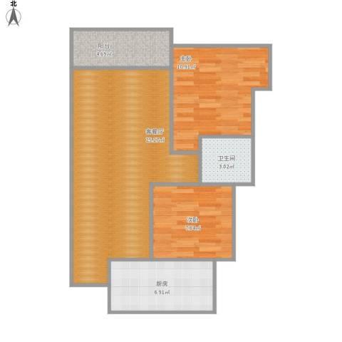 世豪广场2室1厅1卫1厨79.00㎡户型图