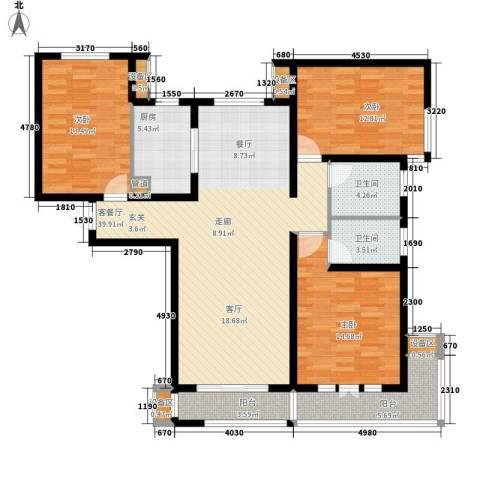 力高阳光海岸3室1厅2卫1厨143.00㎡户型图