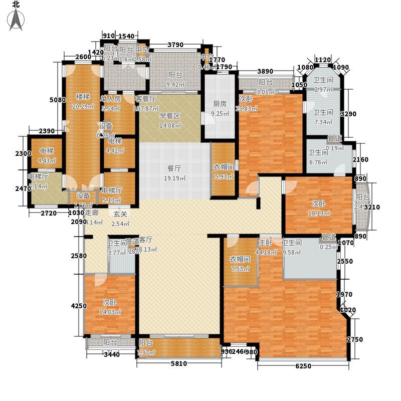 太原星河湾378.00㎡一期A1标准层户型5室2厅