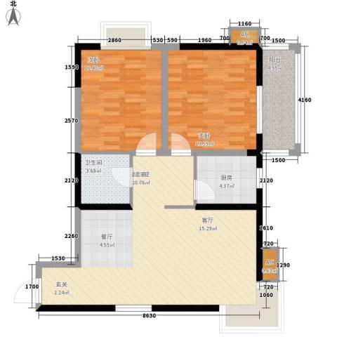 新兴骏景园2室0厅1卫1厨96.00㎡户型图