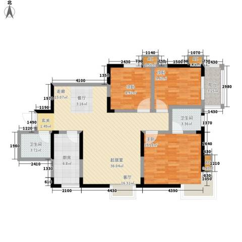 新兴骏景园3室0厅2卫1厨120.00㎡户型图