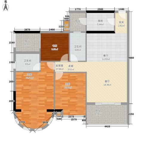金碧翡翠华庭3室0厅2卫1厨128.00㎡户型图