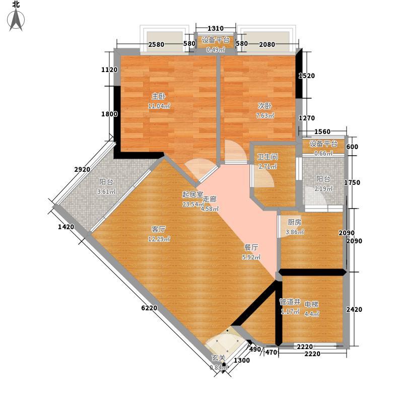 时代玫瑰园69.77㎡A区1栋05面积6977m户型
