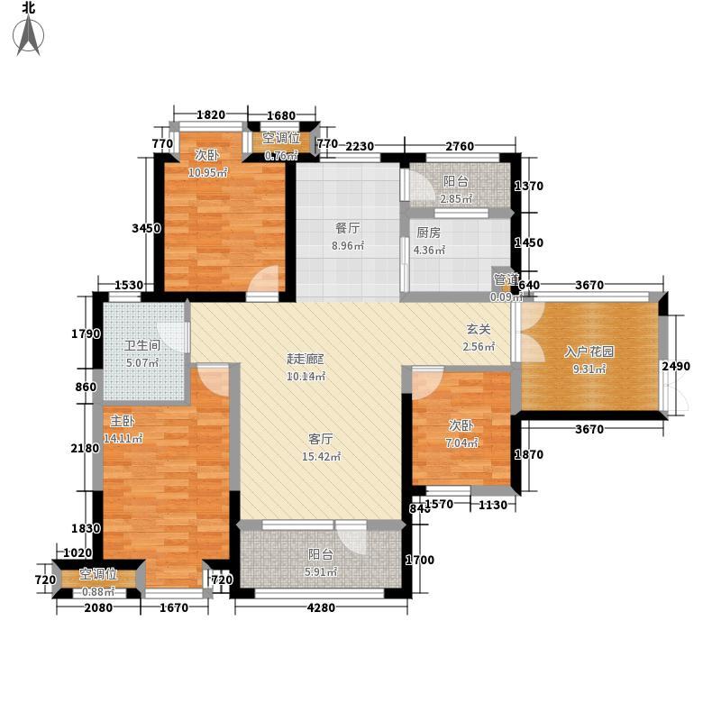 枫林天下114.12㎡二期12#楼、13#楼边户C户型