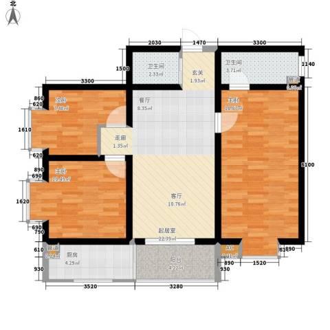 华清园小区3室0厅2卫1厨112.00㎡户型图