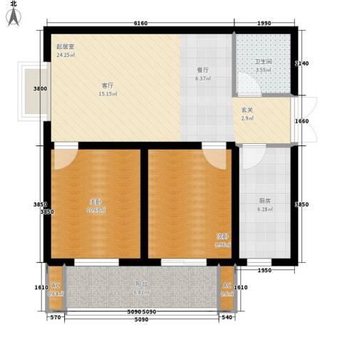 中环国际城2室0厅1卫1厨85.00㎡户型图