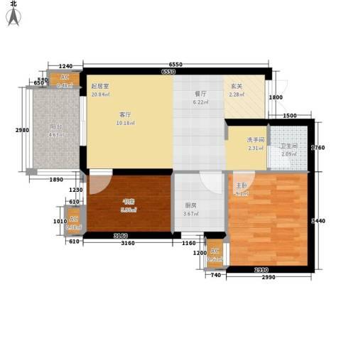 中环国际城2室0厅1卫1厨68.00㎡户型图