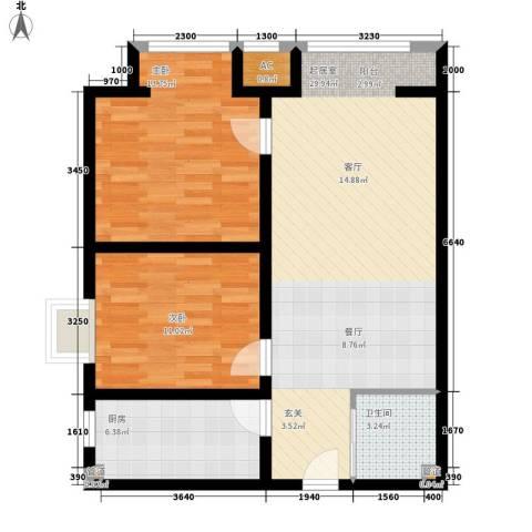 中环国际城2室0厅1卫1厨96.00㎡户型图