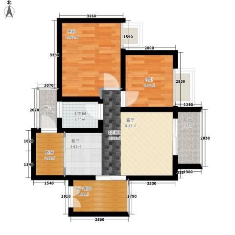 名门庄园2室0厅1卫1厨54.91㎡户型图