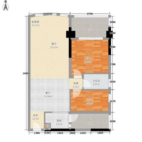 金碧翡翠华庭2室0厅1卫1厨83.00㎡户型图