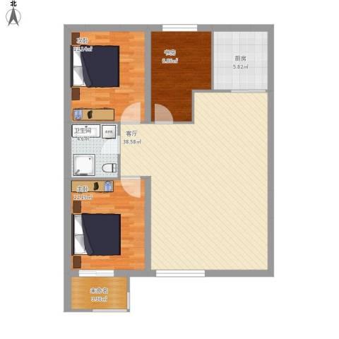 天元花园3室1厅1卫1厨95.51㎡户型图