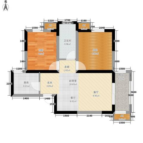 唐韵三坊2室0厅1卫1厨74.00㎡户型图