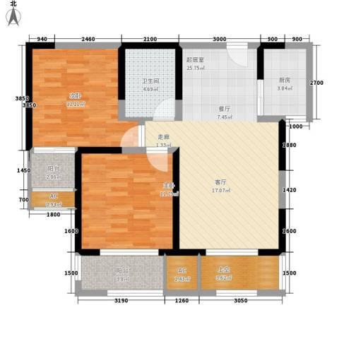 唐韵三坊2室0厅1卫1厨86.00㎡户型图