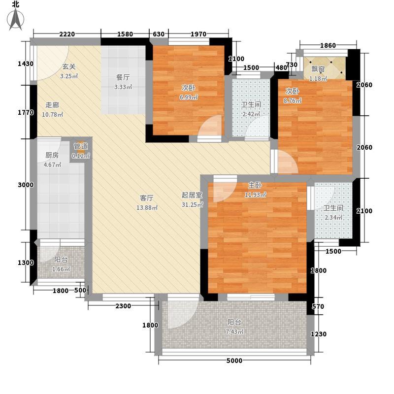 之江雅苑101.74㎡二期B栋2单元标准层6号房3室户型