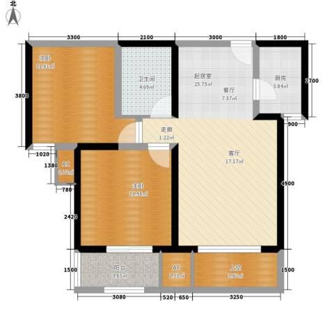 唐韵三坊2室0厅1卫1厨84.00㎡户型图