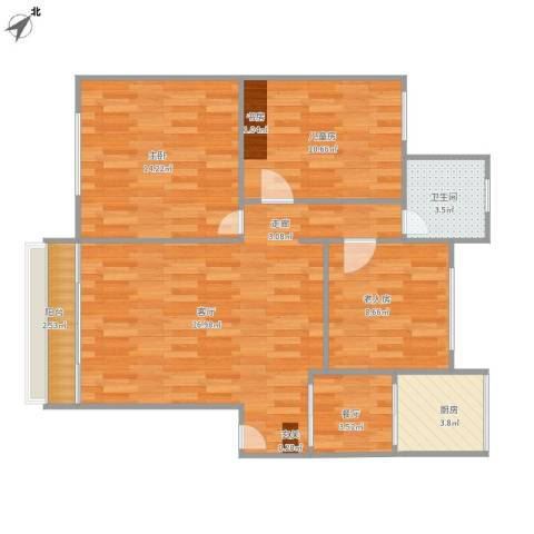 香溪庄二期3室2厅1卫1厨100.00㎡户型图
