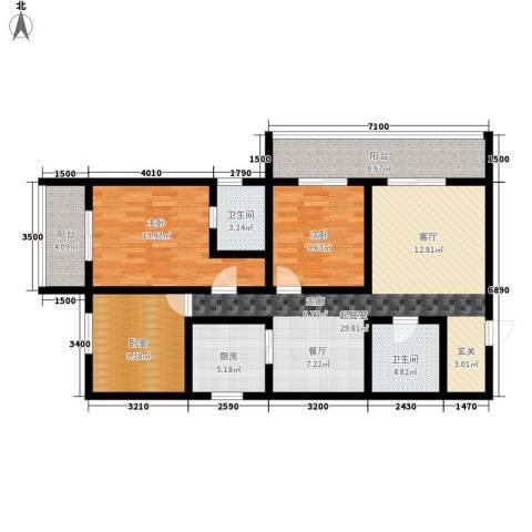 皇城美居2室0厅2卫1厨125.00㎡户型图