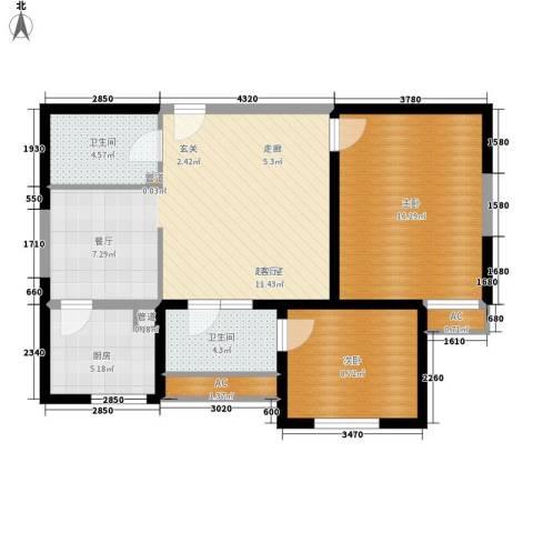 万华园琳苑小区2室0厅2卫1厨78.00㎡户型图