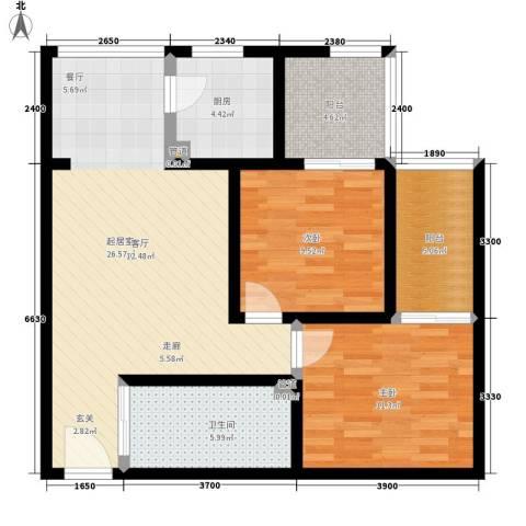 玫瑰坊2室0厅1卫1厨79.00㎡户型图