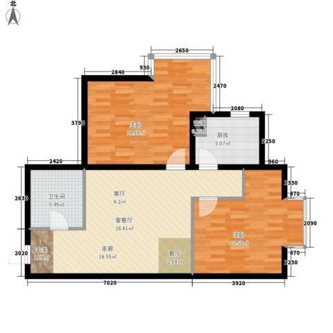 红人公馆2室1厅1卫1厨101.00㎡户型图
