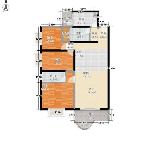 海珠信步闲庭3室1厅2卫1厨115.00㎡户型图