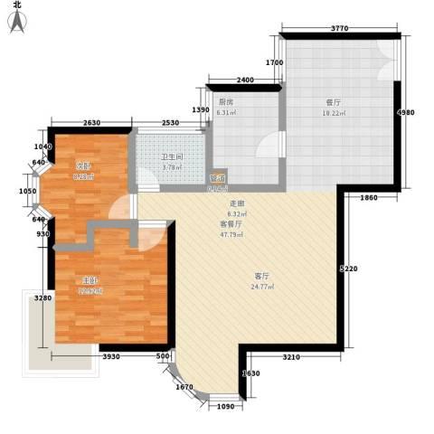 海珠信步闲庭2室1厅1卫1厨90.00㎡户型图