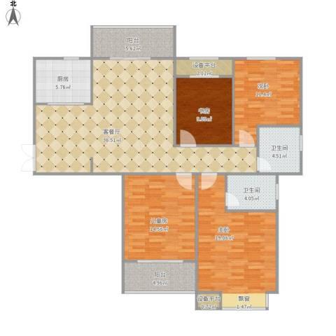 凤凰名都4室1厅2卫1厨160.00㎡户型图