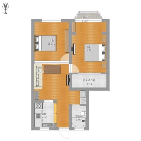 博山小区2室1厅1卫1厨75.00㎡户型图