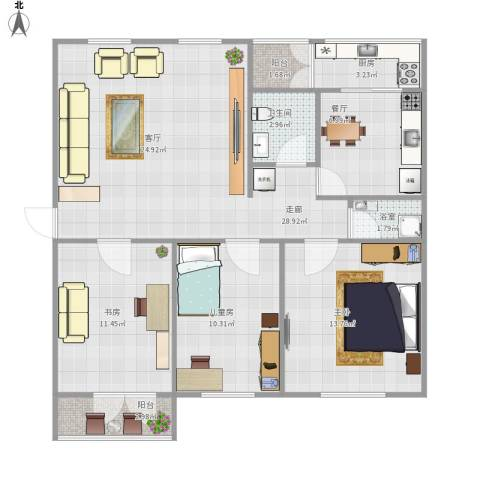 顺义区裕龙花园一区3室1厅1卫1厨114.00㎡户型图