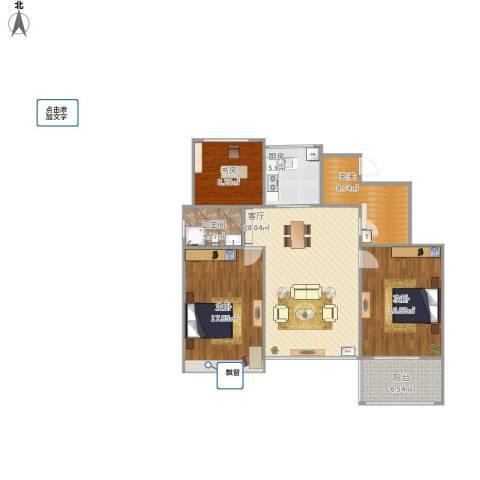 万科龙湾花园3室1厅1卫1厨129.00㎡户型图