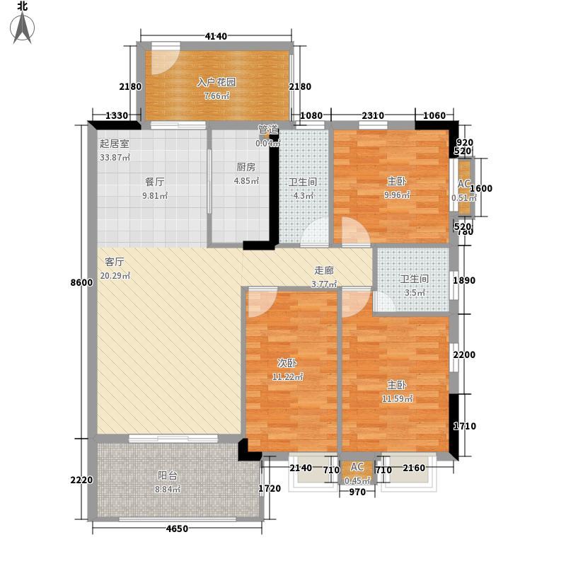 海力花园108.00㎡海力六街1号楼标准层02单元3室户型