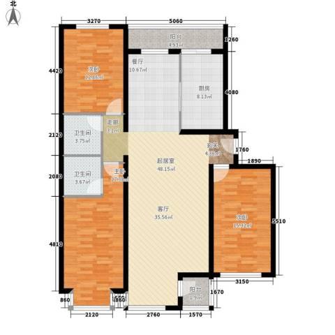 水木青城3室0厅2卫1厨132.00㎡户型图