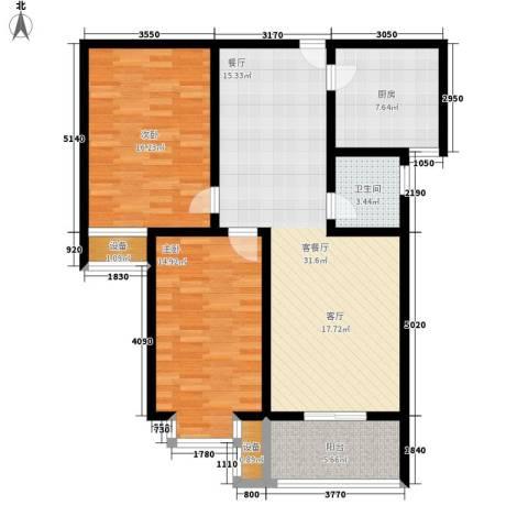 水木青城2室1厅1卫1厨94.00㎡户型图