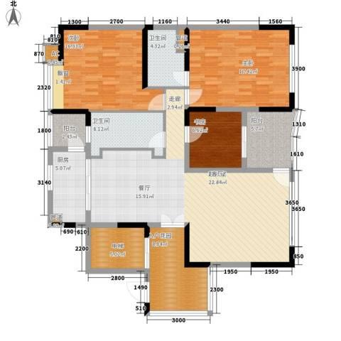 大学城馨园3室0厅2卫1厨136.00㎡户型图