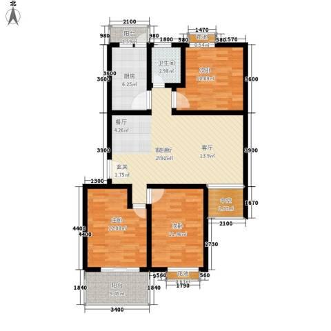 丹尼尔金色时代公寓3室1厅1卫1厨120.00㎡户型图