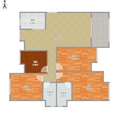 蔚蓝国际4室1厅2卫1厨140.00㎡户型图