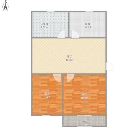 现代花园2室1厅1卫1厨101.00㎡户型图