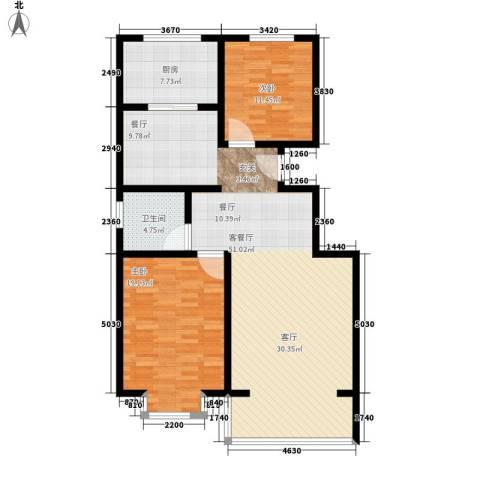 水木青城2室1厅1卫1厨106.00㎡户型图