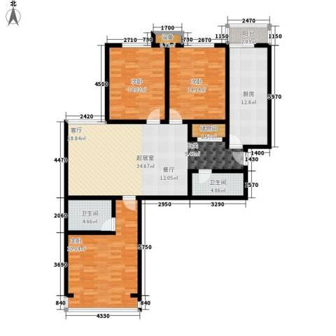 水木青城3室0厅2卫1厨126.00㎡户型图
