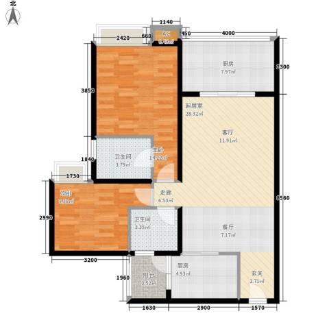 升伟新意境2室0厅2卫2厨106.00㎡户型图