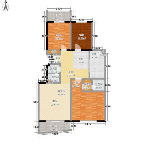 银凯家园3室1厅2卫1厨138.00㎡户型图