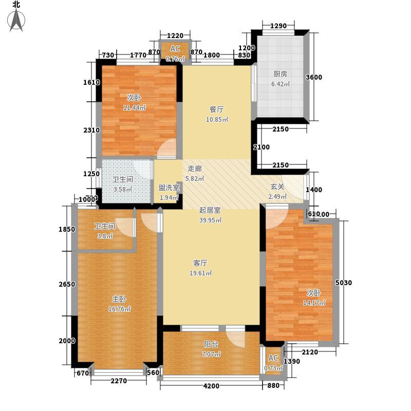 荣盛阿尔卡迪亚136.00㎡16#-7面积13600m户型