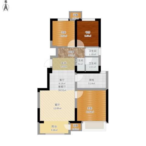 宝龙城3室1厅2卫1厨94.00㎡户型图