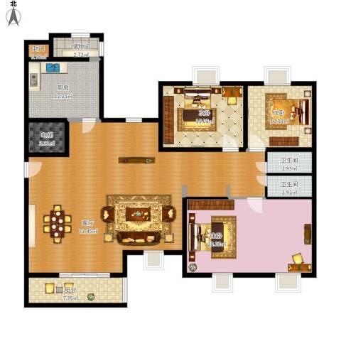 中南・麒麟锦城3室1厅2卫1厨221.00㎡户型图