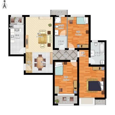珠光御景3室1厅3卫1厨145.00㎡户型图