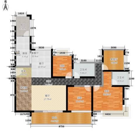 幸福城3室1厅2卫1厨145.00㎡户型图