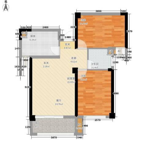 龙旺名城2室0厅1卫1厨68.60㎡户型图